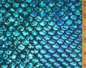Turquoise on Black Large Fish Scale Lycra Fabric