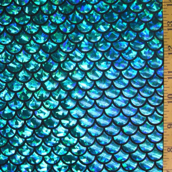 Turquoise On Black Large Fish Scale Lycra Fabric