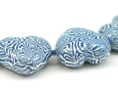 Polymer Clay Beads, Heart Shape, Blue and White, Handmade Beads