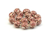 Polymer Clay Beads, Brown and Beige, Handmade Beads, Round Beads