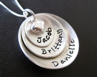 Hand Stamped Jewelry - Domed Hand Stamped Personalized Sterling Silver Necklace for Mom - Three Pendants