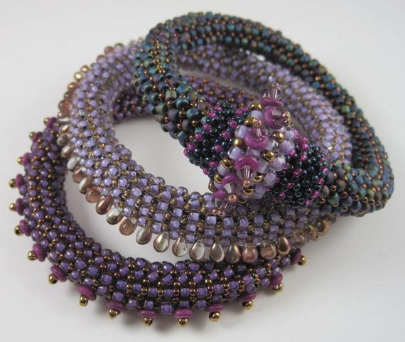 Beaded Bangles - Purple & Blue