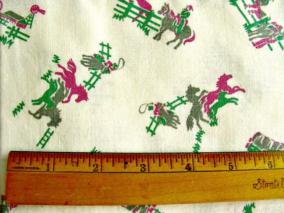 Vintage Feedsack NOVELTY  Feed Sack Cotton Fabric : Cowboys, Horses and Wagons