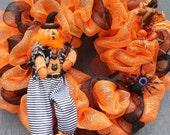 Pumpkin Head Orange and Black Deco Mesh Wreath by Silk N Lights Designs