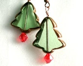 Christmas Tree Light Green Glass Earrings with Red Crystal glass Bicon Bead