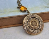 photo locket necklace - THE SUNFLOWER LOCKET - antiqued brass necklace with vintage honey topaz color glass jewel