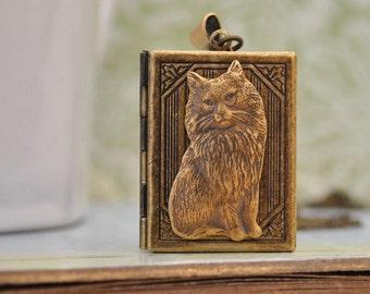 CAT LOCKET, book locket, locket necklace, cat locket, kitty locket, bow locket, long chain.