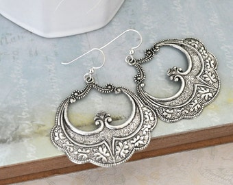 Victorian Filigree Earrings with sterling silver ear wires