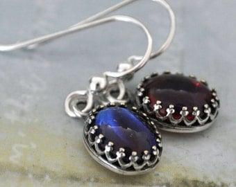 sterling silver earrings - DRAGON'S BREATH -  vintage West Germany 50s Alexandrite glass cab earrings sterling silver