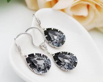 Bridal Earrings Bridal Necklace Silver Night Swarovski Crystal Tear drops Bridal Jewelry Set