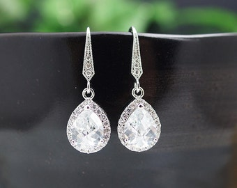 Wedding Jewelry Bridal Jewelry Bridal Earrings Bridesmaid Earrings Lux Cubic Zirconia Tear drop Dangle Earrings Bridesmaid gift (E-B-0009)