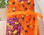 SALE  Halloween Apron - Orange and Purple Full Style with Bats, Witches, Cats, Pumpkins and Moons