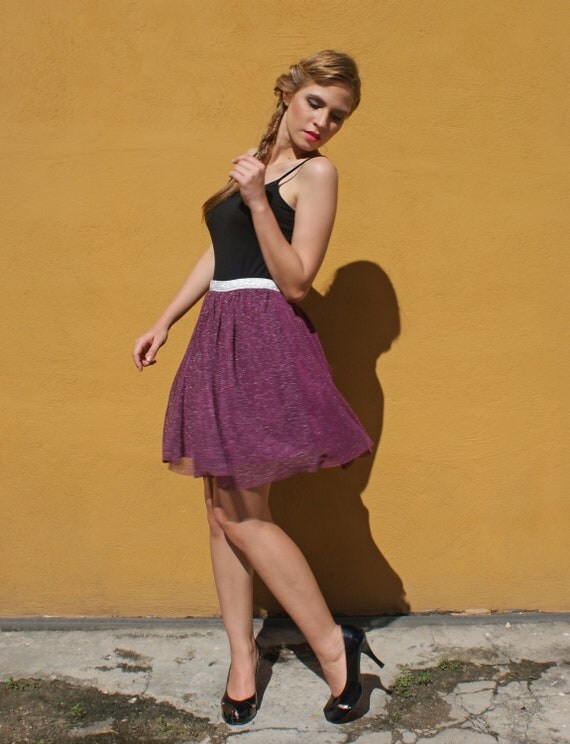 Full Skirt in Burgundy and Silver Mesh Roller Disco Style FINAL SALE