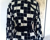 Vintage 1980s Black And Ivory Geometric With Suede Trim Poet Blouse