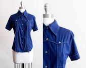 Blue Rockabilly Shirt / Button-down Sta Press