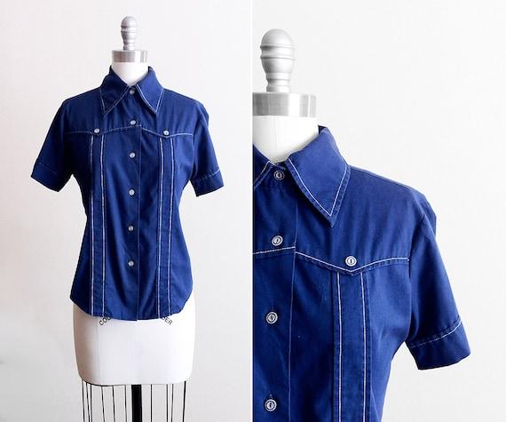 Blue Rockabilly Shirt / Button-down Sta Press