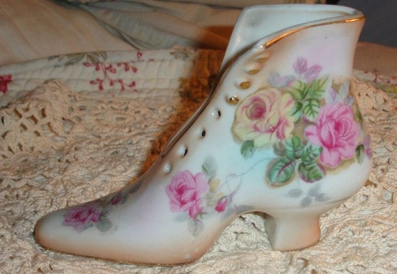 Lovely pink and yellow flowered porcelain shoe by R S
