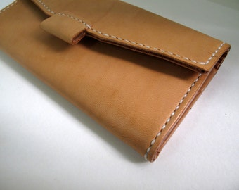Hand-stitched camel leather long wallet