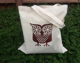 BROWN Vintage Owl Print Eco-Friendly Reusable Canvas Tote Bag
