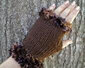 Fingerless Gloves Brown Fuzzy Cuffs