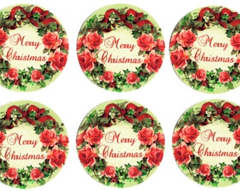 Stickers, Christmas Stickers, Christmas Wreath, Sticker Seals