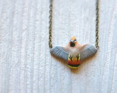 Bohemian Waxwing in flight necklace