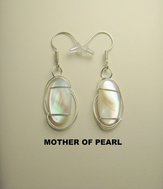 Mother of  Pearl Shell Cabochon Wire Wrapped Earrings.