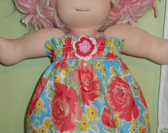 Pretty Pink and Blue Floral Halter Dress - Waldorf Doll Clothes - 15 Inch Bambo Size