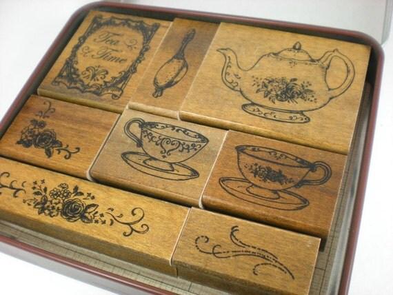 Margaret Tin Case Stamp Set - Tea Time