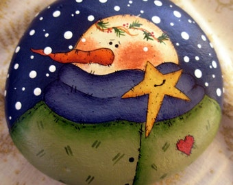 Snowman & Star Garden Stone- Handpainted|Home Decor|Garden|Holiday