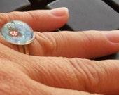 Blue flower bubble acrylic ring