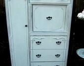 Shabby Chic Distressed Linen White Wardrobe/Armoire/Dresser Reserve Nicole