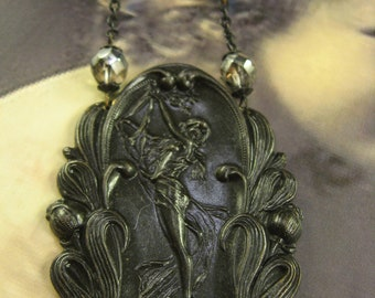 """Handmade Vintage Inspired Necklace """"The Lily Maiden"""", gothic, romantic, victorian, vintage noir, pendant necklace, shade of blue"""