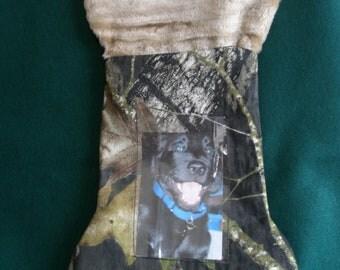 Mossy Oak Camo Dog Christmas Stocking, bone shaped