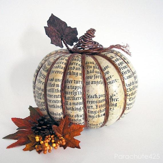 Poe Pumpkin Harvest 122, decoupage pumpkin, Halloween, Fall decor, The Raven, ooak, rust and cream