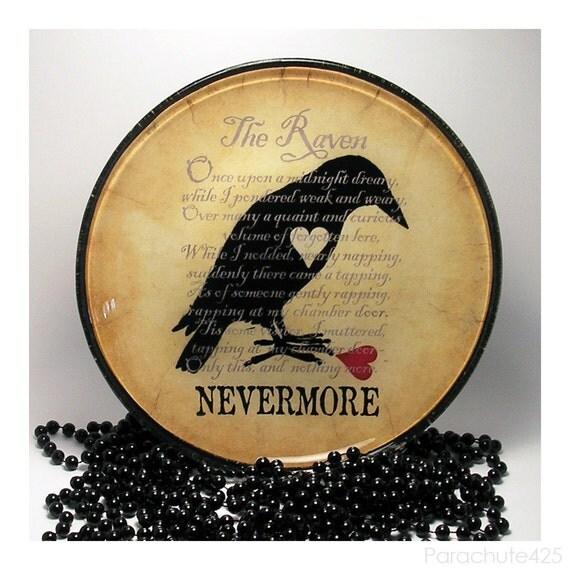 The Raven decoupage glass plate, macabre home decor, gothic Poe, broken heart, nevermore, Halloween
