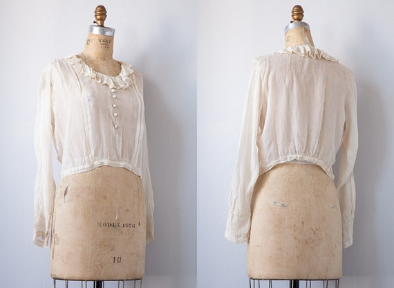 Reserved...vintage 1920s blouse / 1920s sheer blouse / Edwardian antique sheer romantic blouse