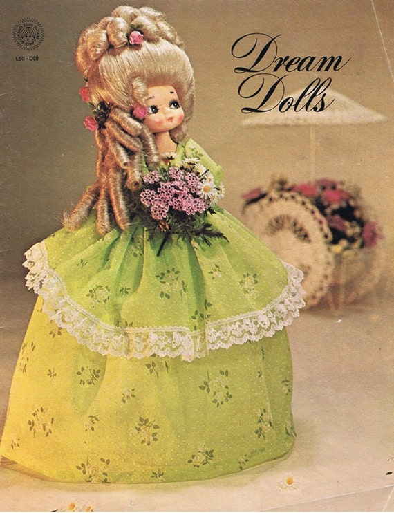 Dream Dolls Learn How to Make From Recycled Bleach Bottle Quart Soda Pop Big Hair French Aristocracy Elaborate Gown Craft Pattern Leaflet