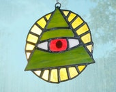 Stained Glass All Seeing Eye of Providence Suncatcher, Ornament