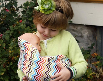 Doll Sling Child's Toy Pouch Sling Baby Doll Carrier - Rainbow Chevron - FAST SHIPPING