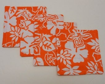 Orange Quilted Coasters Set Reversible  Orange Tropical Flower Fabrics  by SEW FUN QUILTS