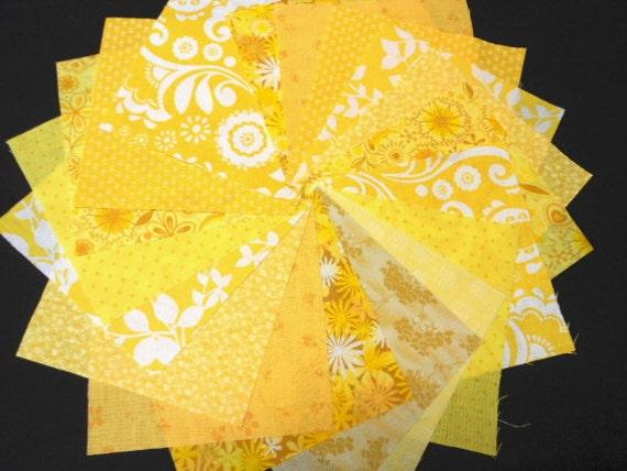 Summer Sunshine Yellow Quilt Fabrics - Fabric Charm Squares - Sew Fun Quilts Time Saver Quilt Kit