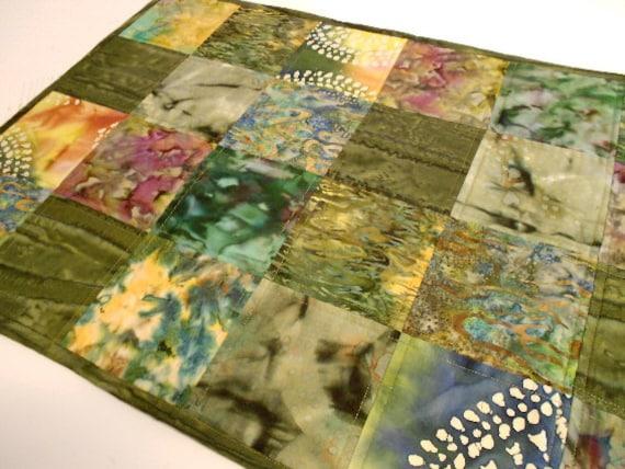 Quilt Table Runner, In the Rain Forest - Green Batik Fabrics