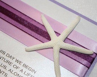 Purple and Lavender Starfish Beach Wedding Invitation
