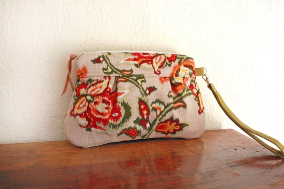 Save 10% w/ promo code--Kitt Wristlet/ Pouch/ Makeup bag/ Wallet in Floral  IKAT Cotton Print --Ready to Ship--