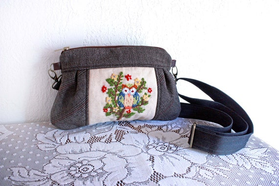 Kitt Wristlet/ Pouch/ Makeup bag/ Wallet with Owl embroidery and (2) sets of straps--Ready to Ship --Save 10% w/ code SAVE10
