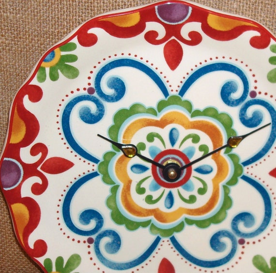 Wall Clock -  Multi Color Floral and Swirls Ceramic Plate Wall Clock No. 924 (9 inches)