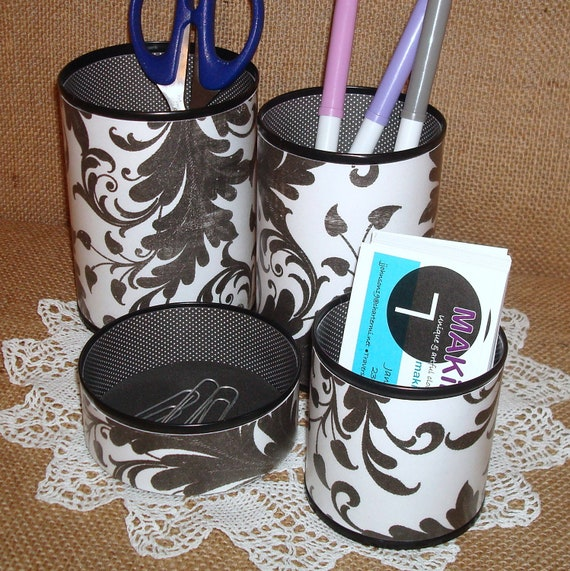 Pencil Cups Black and White Leafy Pattern and Polka Dot Pencil Holder Desk Accessory Set No. 204