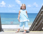 Seersucker ruffle capris, size 6mos.-6 girls (8 colors to choose from)