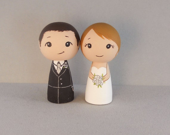 Redhead Bride Brunette Groom Wedding Cake Toppers